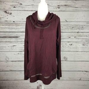 Yogalicious Maroon Tulip Back Hoodie Sweatshirt